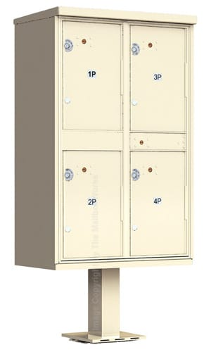 Outdoor Parcel Lockers 4 Doors Pedestal Mounted Product Image