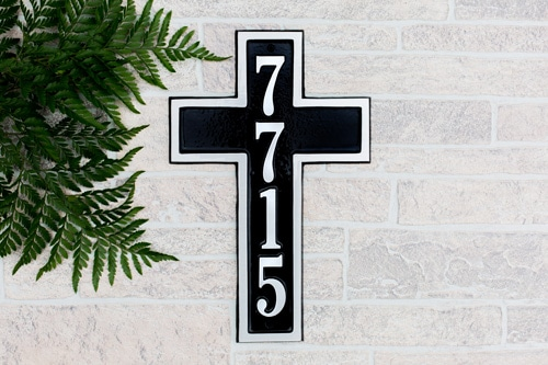 Majestic Cross Aluminum Address Plaque Installed Look