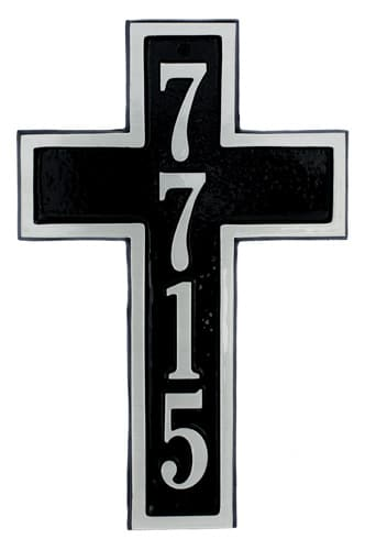 Majestic Cross Aluminum Address Plaque