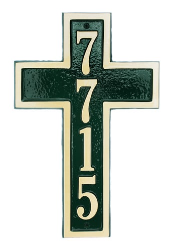 Majestic Cross Solid Brass Address Plaque
