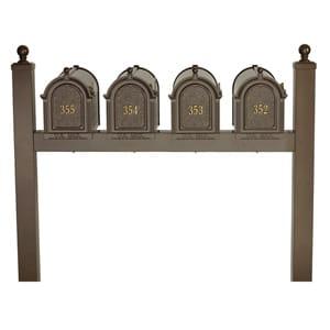 Whitehall Mailboxes Quad Mount Post Bronze