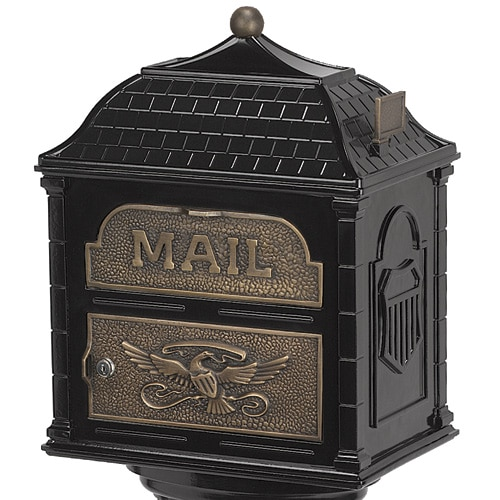 Classic Pedestal Mailbox Antique Bronze Accents